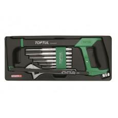 Купить в Минске Набор-сет ножовка, разводной ключ 8, выколотки 8пр. 434х176мм TOPTUL (GCAT0801) цена