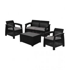 Купить в Минске Комплект мебели Corfu Box Set (2 кресла, 1 скамья+столик), коричневый цена